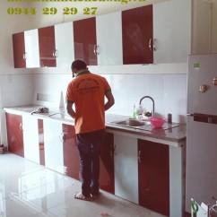 Tủ Bếp Nhôm Kính Treo Tường Sơn Tĩnh Điện Màu Trắng Sứ Đẹp HCM