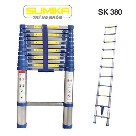 Thang nhôm rút đơn Sumika đai xanh SK380